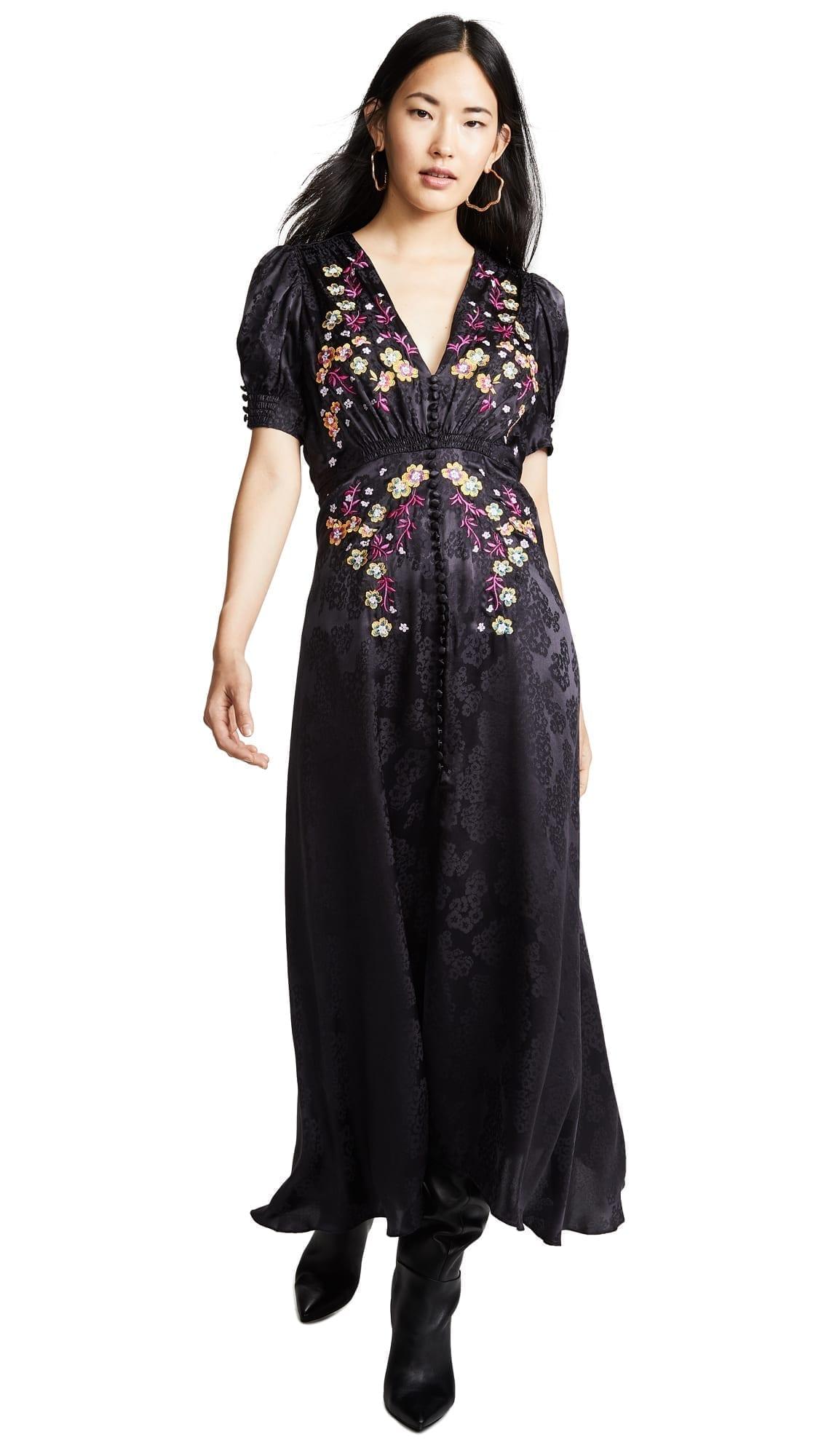 SALONI Lea Long Black Dress