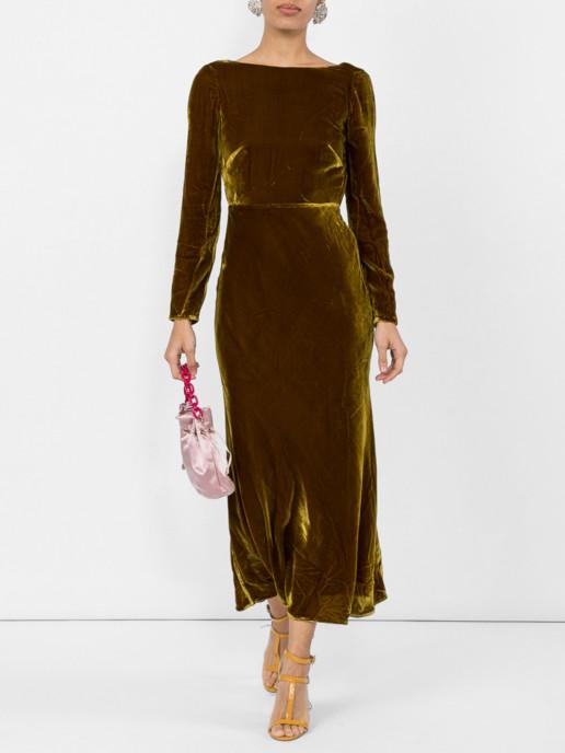SALONI Low Back Midi Brown Dress