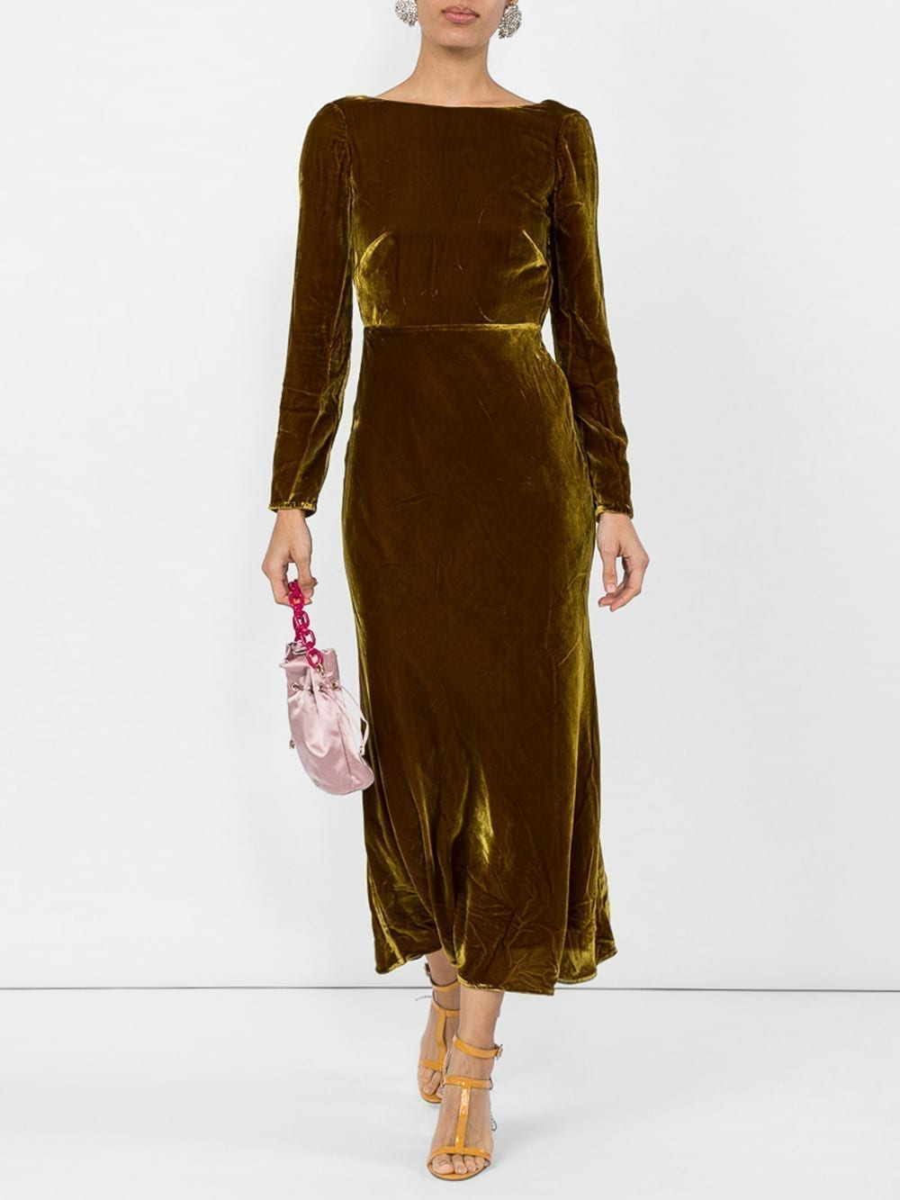 SALONI Low Back Midi Brown Dress
