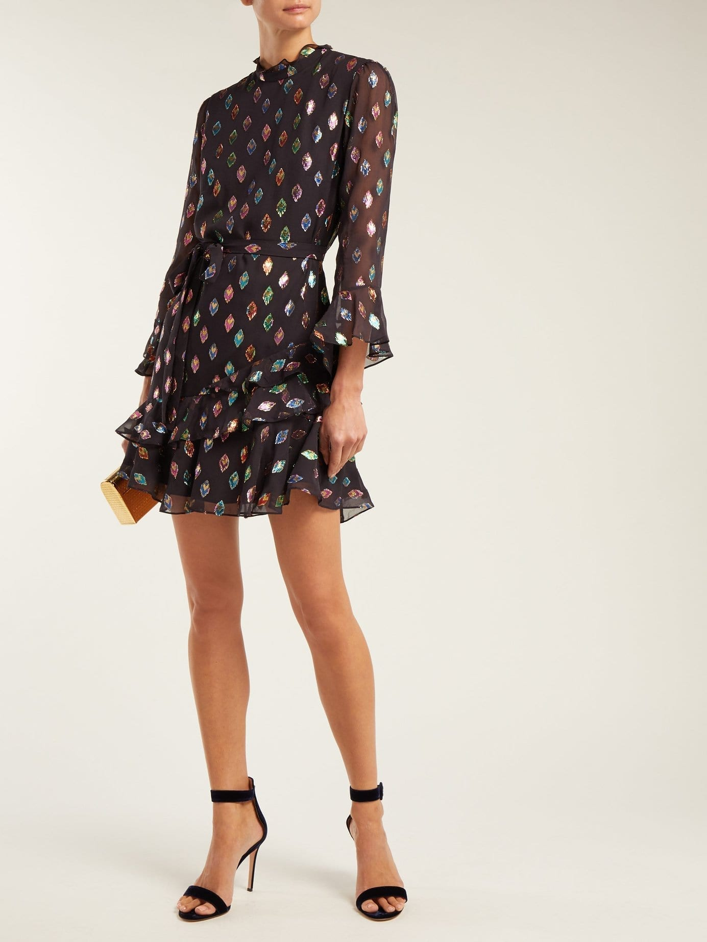 2787577b SALONI Marissa Metallic Silk Blend Black Dress - We Select Dresses