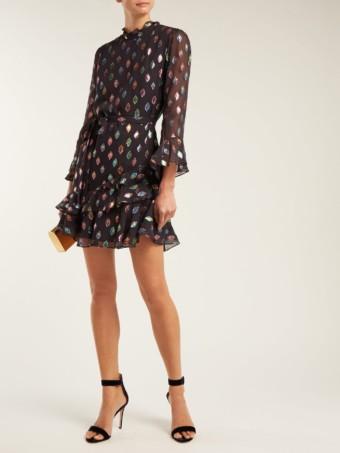 SALONI Marissa Metallic Silk-Blend Black Dress