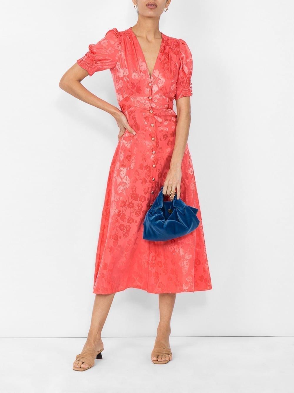 SALONI Stamped Satin Orange Dress