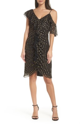 SAM EDELMAN Metallic Dot Cold Shoulder Sheath Black / Gold Dress