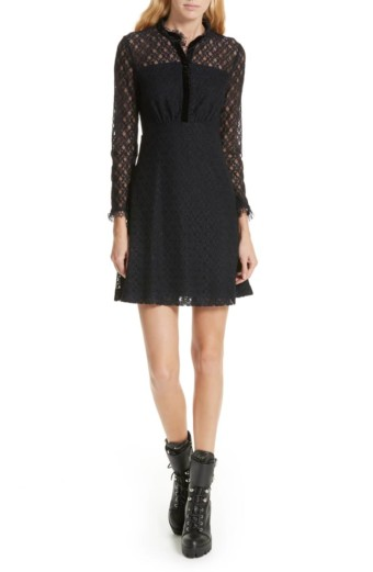 SANDRO Lace Overlay Mini Navy Dress