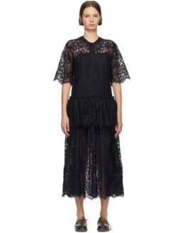 SARA LANZI Lace Navy Dress