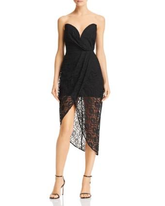 SAU LEE Jerri Strapless Lace Black Dress
