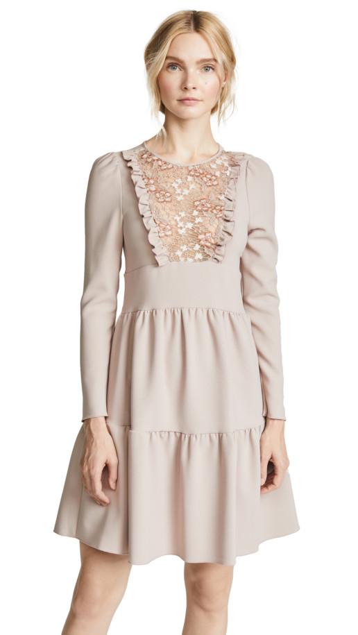 SEE BY CHLOE Bibbed Bark Grey Dress