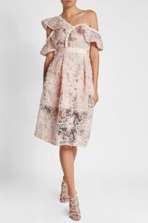 SELF-PORTRAIT Asymmetric Floral Lace Pink Dress