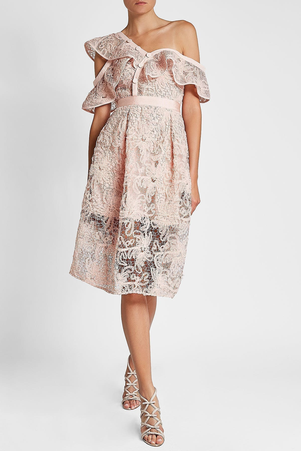 SELF-PORTRAIT Asymmetric Floral Lace Pink Dress