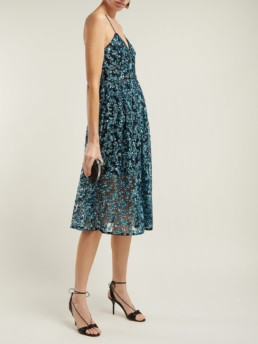 SELF-PORTRAIT Azaelea Sequinned Midi Blue Dress