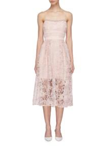 SELF-PORTRAIT Floral Mesh Lace Camisole Light Pink Dress