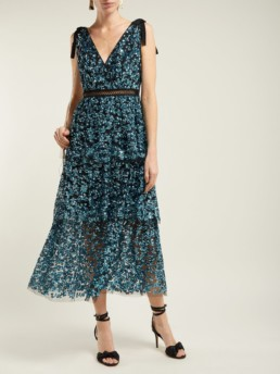 SELF-PORTRAIT Sequinned Tiered Tulle Midi Blue Dress