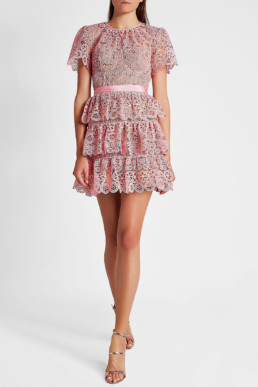 SELF-PORTRAIT Tiered Lace Mini Pink Dress