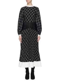 SELF-PORTRAIT Waist Panel Split Sleeve Windowpane Check Midi Navy Dress