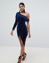 SHARE Lavish Alice Velvet One Shoulder Wrap Asymmetric Mini Navy Dress