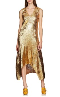 SIES MARJAN Gwen Metallic Textured Gold Dress