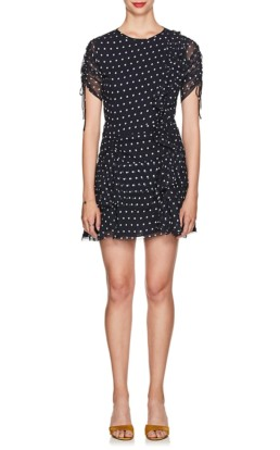 SIR THE LABEL Marceau Polka Dot Silk Navy Dress