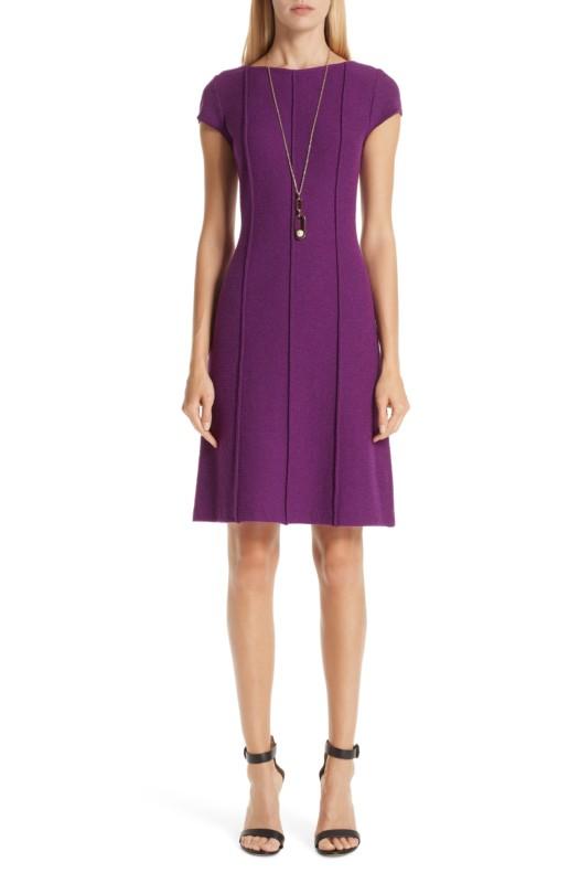 ST. JOHN COLLECTION Ana Bouclé Knit Purple Dress