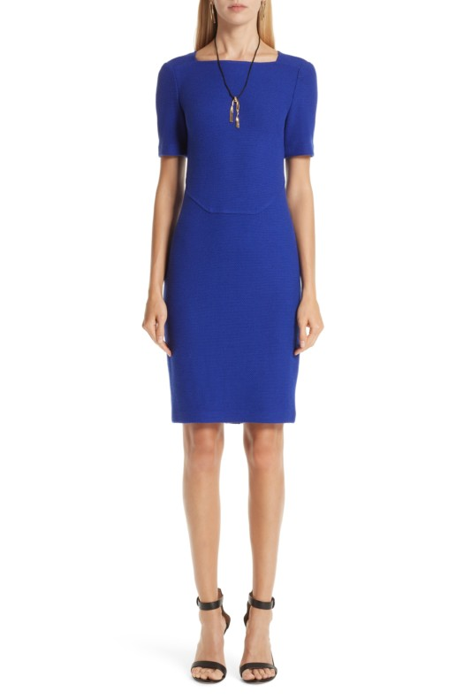 ST. JOHN COLLECTION Irina Bouclé Knit Square Neck Sheath Blue Dress