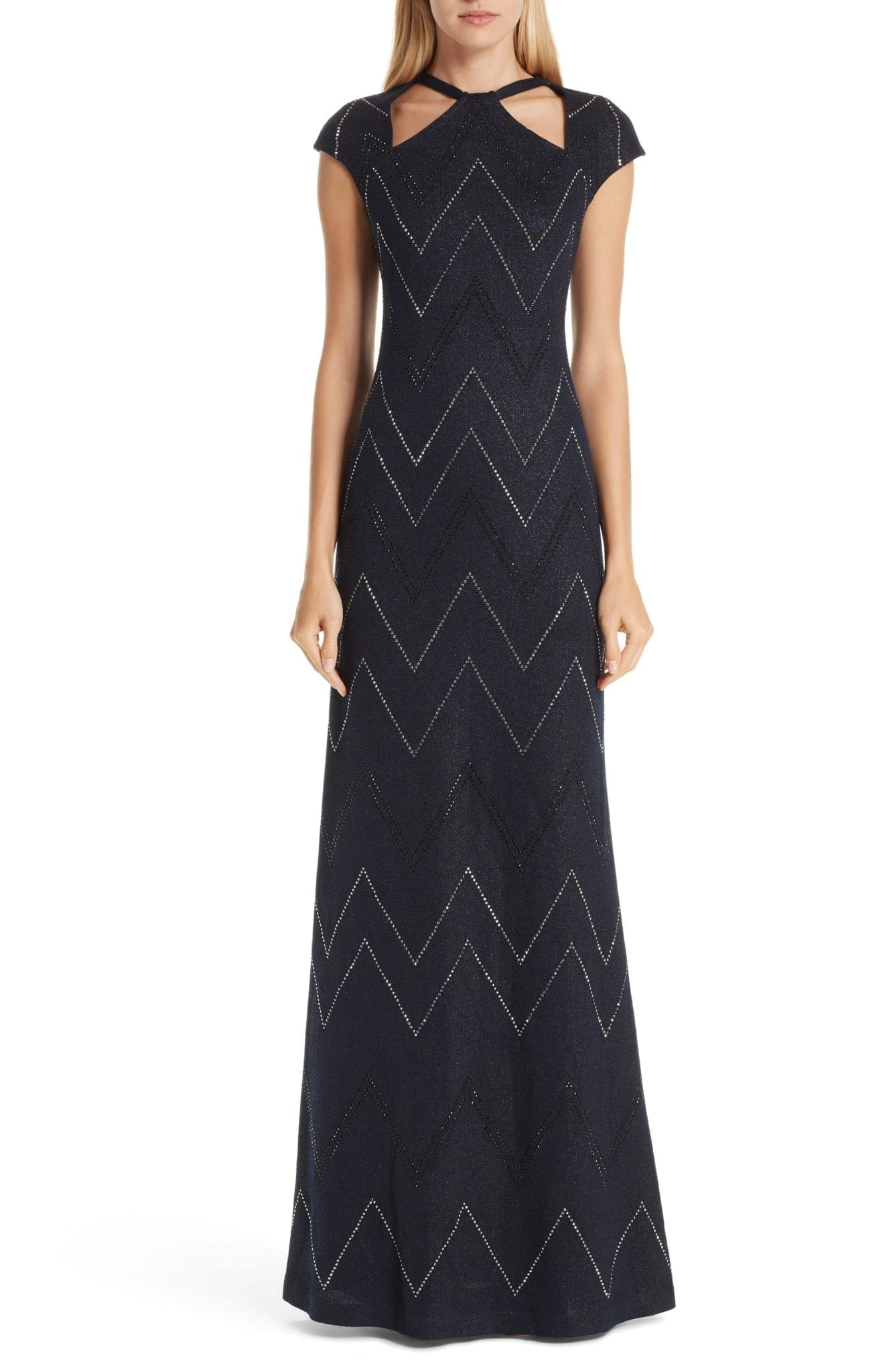 ST. JOHN COLLECTION Mod Metallic Knit Navy Gown
