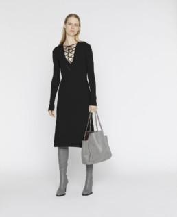 STELLA MCCARTNEY Compact Knit Black Dress