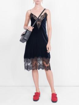 STELLA MCCARTNEY Lace Slip Black Dress