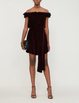 STELLA MCCARTNEY Off The Shoulder Velvet Mini Burgundy Dress