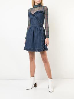 STELLA MCCARTNEY Ruffled Denim Mini Blue Dress