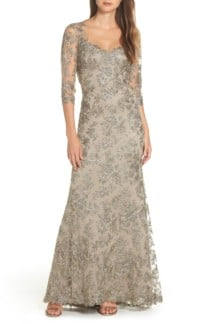 TADASHI SHOJI Corded Embroidered Lace Silver Gown