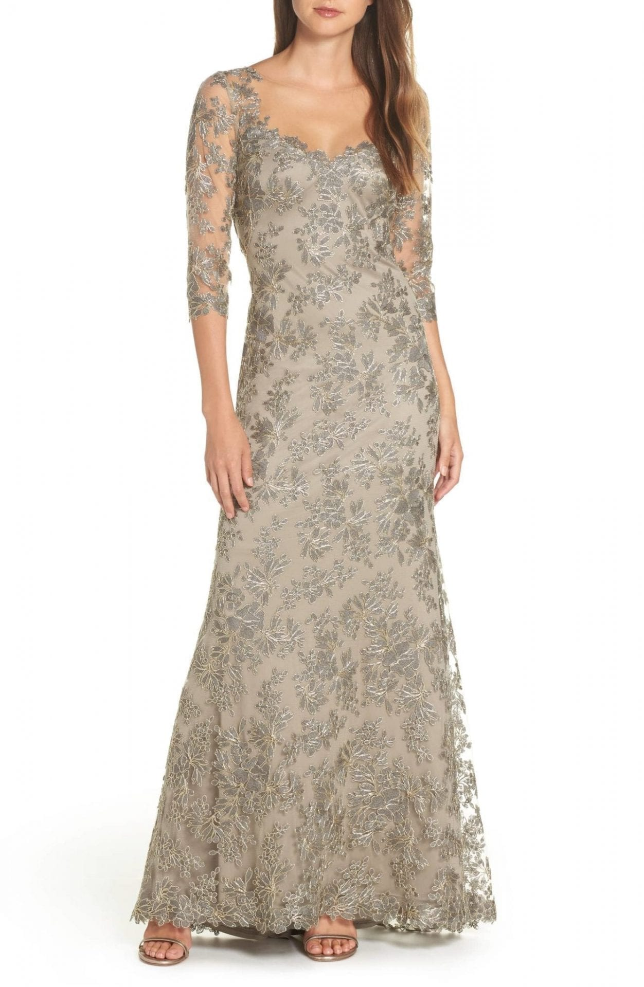 8479c4304f7 TADASHI SHOJI Corded Embroidered Lace Silver Gown - We Select Dresses