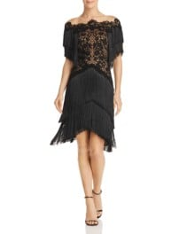 TADASHI SHOJI Illusion Embroidered Fringe Black / Nude Dress