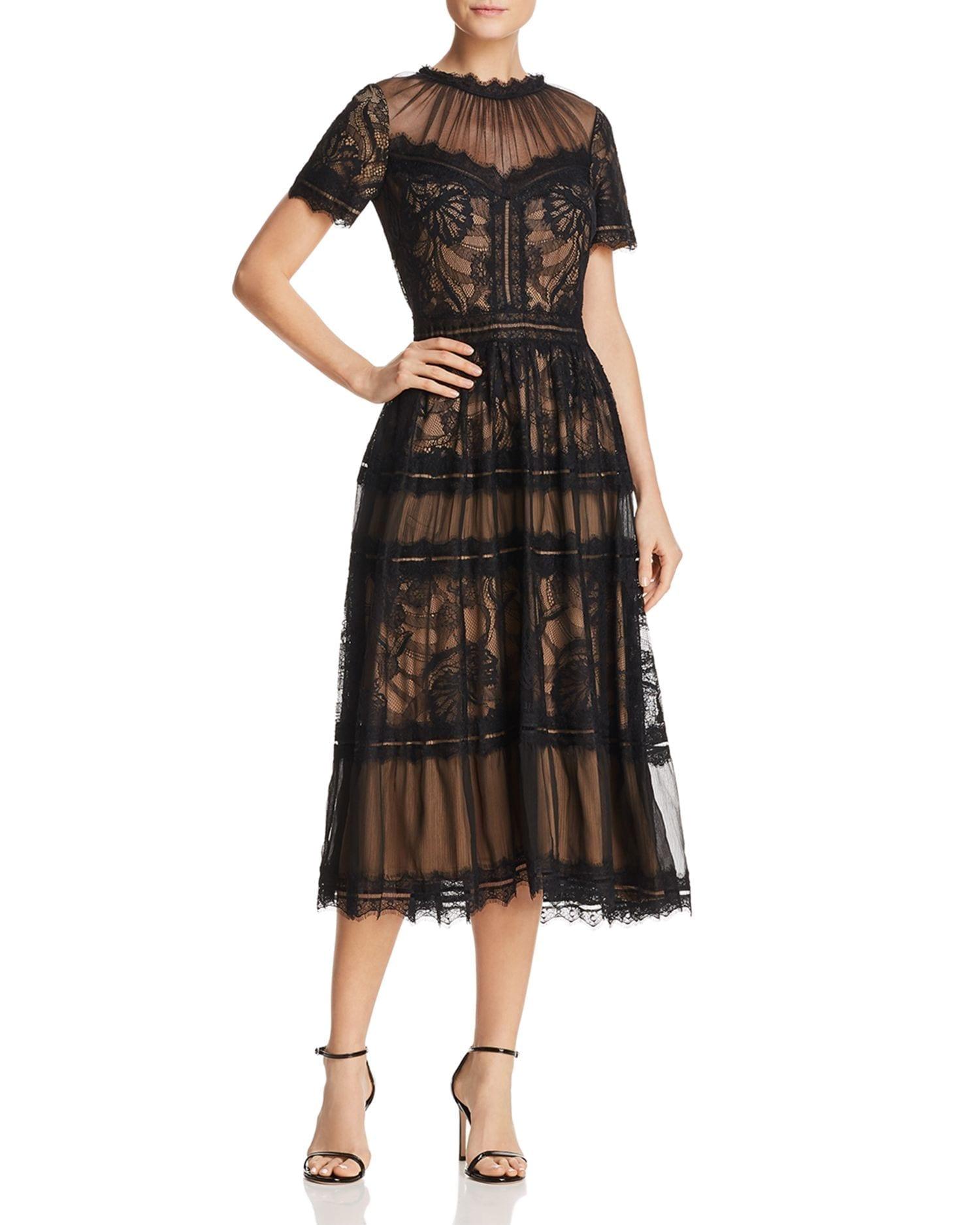 TADASHI SHOJI Lace Midi Black / Nude Dress