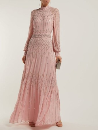 TEMPERLEY LONDON Glide Sequinned Georgette Pink Gown