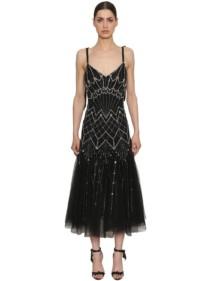 TEMPERLEY LONDON Sequined Georgette Black Dress