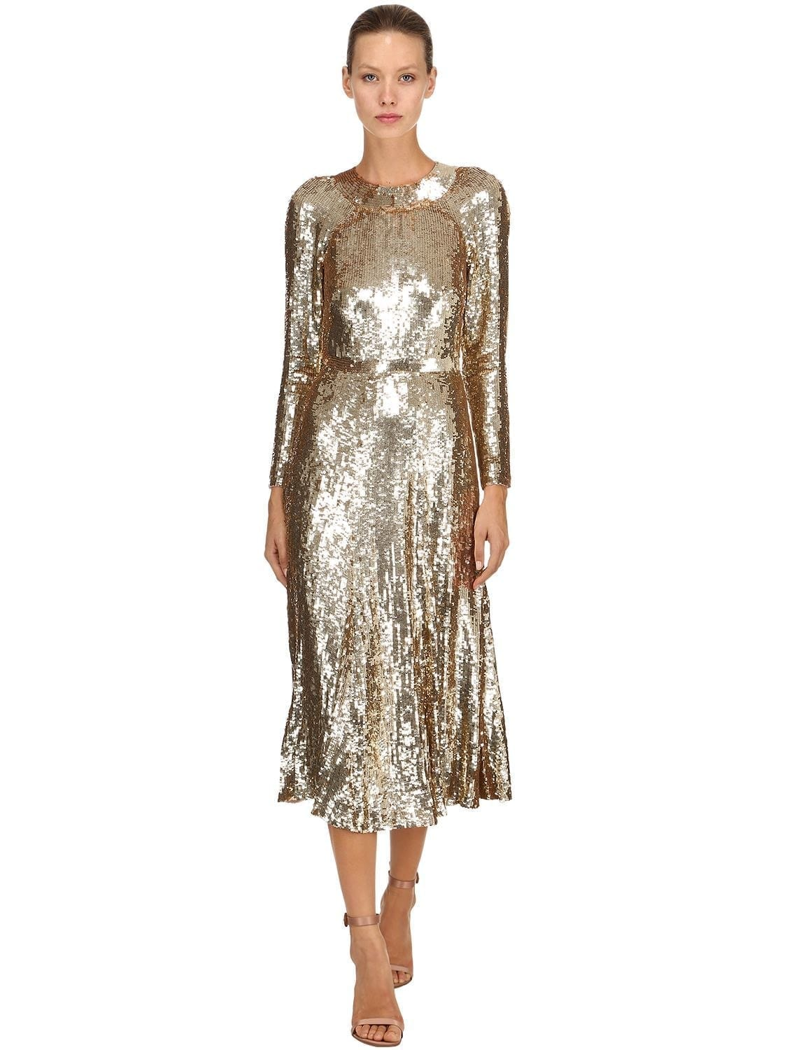 TEMPERLEY LONDON Sequined Midi Gold Dress