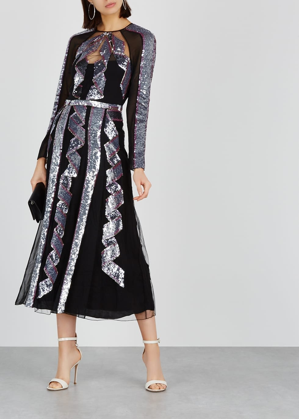 TEMPERLEY Sequin-Embellished Tulle Midi Black Dress