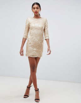 TFNC Baroque Patterned Sequin Mini Gold Dress