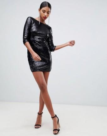 TFNC Lace Scallop Back Sequin Mini Bodycon Black Dress
