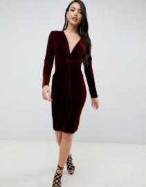 TFNC Twisted Waistband With Tall Velvet Midi Wrap Burgundy Dress