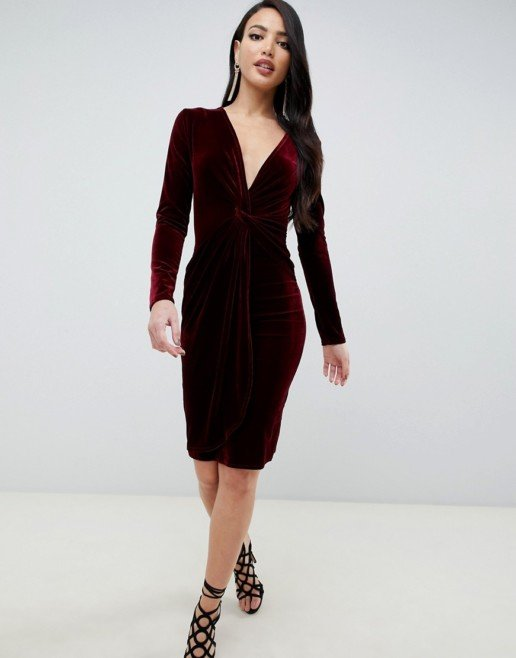 TFNC Twisted Waistband With Tall Velvet Midi Wrap Burgundy Dress