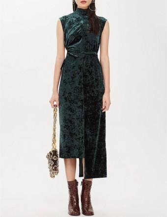 TOPSHOP Asymmetric Cutout Velvet Midi Green Dress