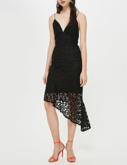 TOPSHOP Asymmetric Floral Lace Slip Black Dress