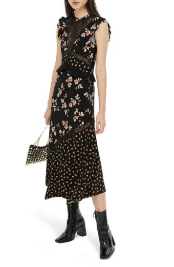 TOPSHOP Lace Mix Spring Midi Black Multi Dress