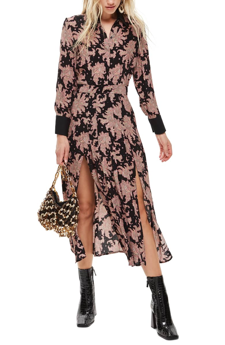 TOPSHOP Paisley Midi Black Multi Shirtdress