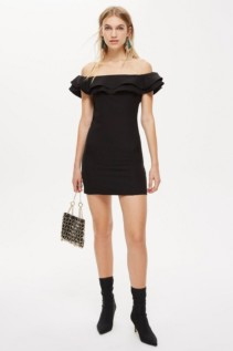 TOPSHOP Ruffle Bardot Mini Black Dress