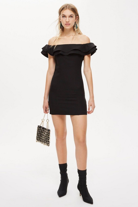 TOPSHOP Ruffle Bardot Mini Black Dress