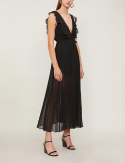 TOPSHOP Ruffle Trimmed Crepe Black Dress