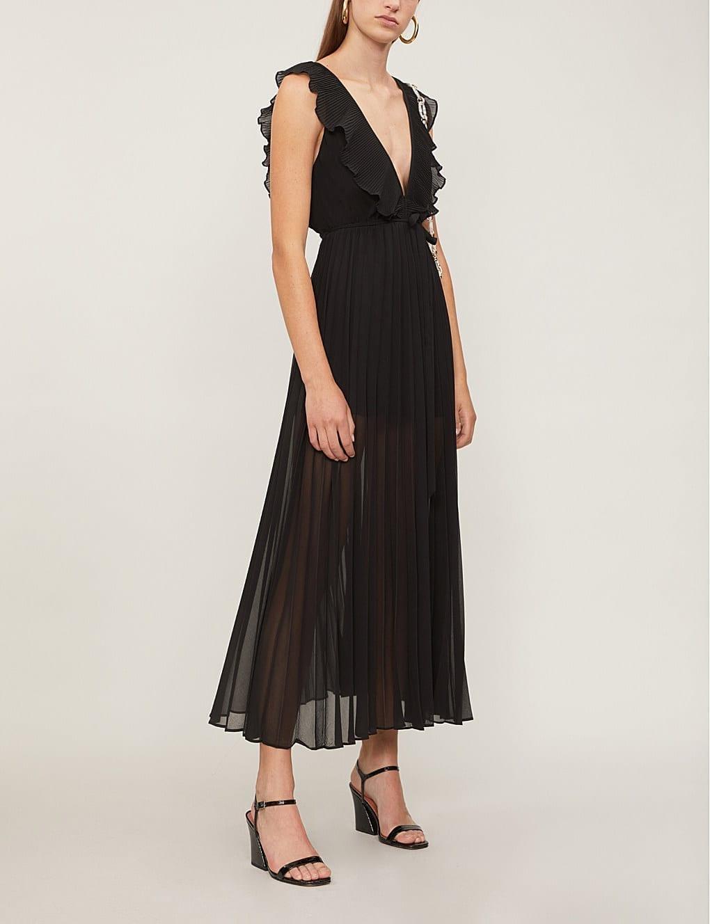 TOPSHOP Ruffle Trimmed Crepe Black Dress