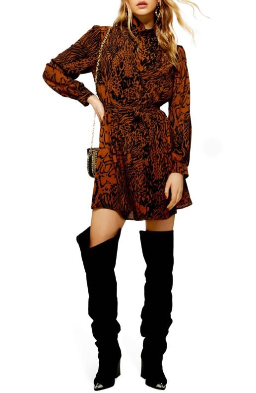 TOPSHOP Snake Shirt Tan / Multicolored Dress