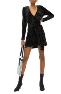 TOPSHOP Velvet Black Dress